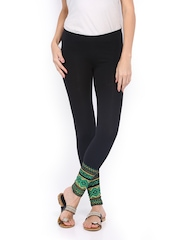 Mirage Women Black Printed Cotton Ankle Length Leggings