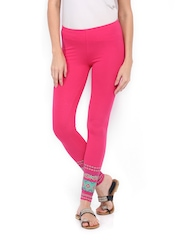 Mirage Women Pink Printed Cotton Ankle Length Leggings