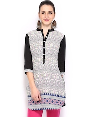 Mirage Women White & Black Madhubani Printed Kurti