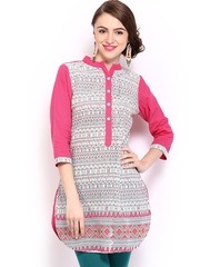 Mirage Women White & Pink Madhubani Printed Kurti