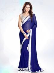 Mirchi Fashion Navy Georgette Fashion Saree