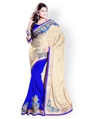Mirchi Fashion Beige & Blue Jacquard Chiffon Fashion Saree