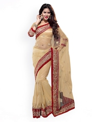 Mirchi Fashion Beige Embroidered Supernet Fashion Saree