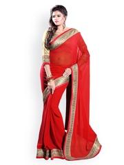 Mirchi Fashion Red Georgette Fashion Saree