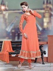 Mirchi Fashion Peach-Coloured Embroidered Semi-Stitched Anarkali Salwar Kurta with Dupatta