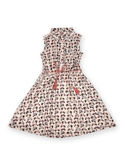 Miss Alibi Girls Pink & Off-White Printed Fit & Flare Dress
