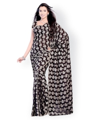 Diva Fashion Black Printed Jacquard Fashion Saree