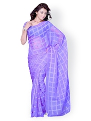 Lavender Woven Synthetic Raw Silk Fashion Saree Diva Fashion