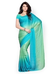 Diva Fashion Sea Green Printed Georgette Fashion Saree