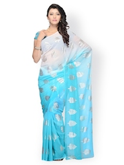 Diva Fashion Blue & White Printed Georgette Fashion Saree