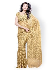 Diva Fashion Beige Brasso Fashion Saree