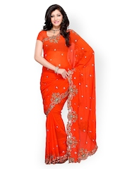 Diva Fashion Orange Embroidered Georgette Fashion Saree
