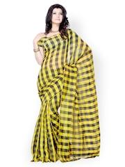Diva Fashion Black & Yellow Checked Art Silk Fashion Saree