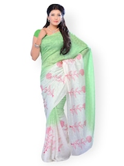 Diva Fashion Green & White Jacquard Fashion Saree