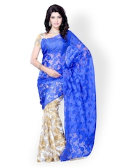 Diva Fashion Beige & Blue Georgette Half & Half Fashion Saree