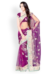 Diva Fashion Purple Embroidered Net Fashion Saree