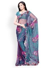 Diva Fashion Teal Blue Embroidered Net Fashion Saree