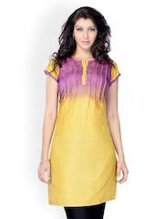 Miss and Mrs Women Yellow and Purple Kurta