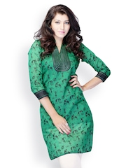 Miss and Mrs Women Green Printed Kurta