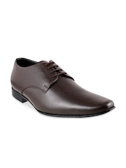 Mochi Men Brown Leather Formal Shoes
