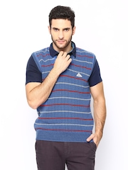 Monte Carlo Blue Striped Sleeveless Sweater