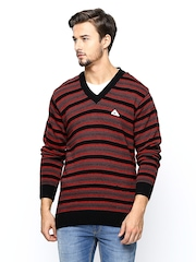 Monte Carlo Men Black & Red Wool Blend Sweater