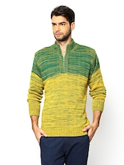 Monte Carlo Men Green & Yellow Sweater
