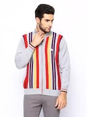 Monte Carlo Men Grey Melange Striped Sweater