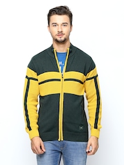 Monte Carlo Men Green and Yellow Sweater