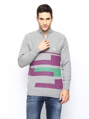 Monte Carlo Men Grey Merino Wool Blend Sweater