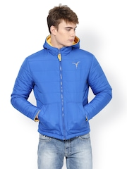 Monteil & Munero Men Blue & Yellow Reversible Padded Jacket