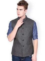 Monteil & Munero Men Light Grey Nehru Jacket