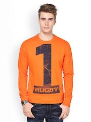 Monteil & Munero Men Orange Printed Sweatshirt
