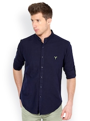 Monteil & Munero Men Navy Blue Slim-Fit Casual Shirt