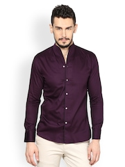 Monteil & Munero Wine Coloured Slim Fit Casual Shirt