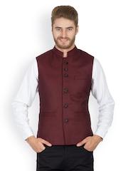Monteil & Munero Men Maroon Nehru Jacket