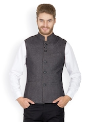 Monteil & Munero Men Coffee Black Nehru Jacket