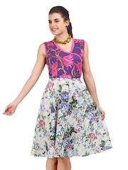 Motif Purple & White Floral Print Dress
