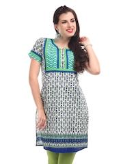 Motif Women Green & Blue Floral Print Kurta