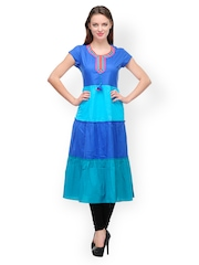 Women Blue Anarkali Kurta Motif