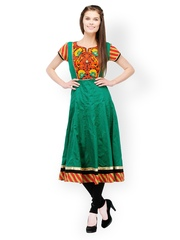 Motif Women Green Embroidered Anarkali Kurta