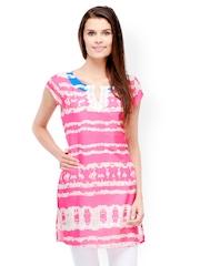Motif Women Pink Printed Kurta