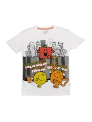 Kids Ville Boys White Mr. Men Little Miss Printed T-shirt
