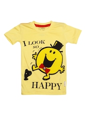 Boys Yellow Mr. Men Little Miss Printed T-shirt Kids Ville