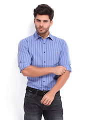 Mufti Men Lavender & Black Linen Blend Striped Casual Shirt