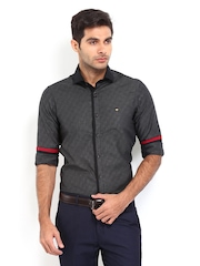 Mufti Men Charcoal Grey Slim Fit Smart-Casual Shirt