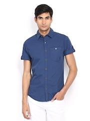 Mufti Men Blue Slim Fit Casual Shirt