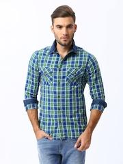 Mufti Men Green & Blue Checked Casual Shirt