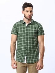 Mufti Men Green Checked Casual Shirt