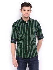 Mufti Men Navy & Green Striped Casual Shirt